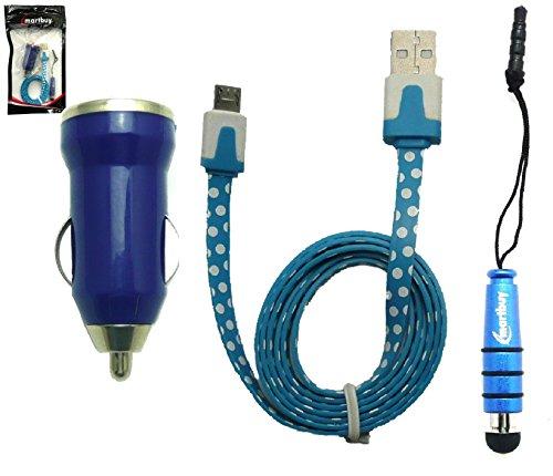 Emartbuy® Polka Dots Trio Packfür Jumper EZpad 4s / Jumper EZpad Mini3 Tablet PC - Blau 1 Amp USB Car Ladekabel + Blau Mini Eingabestift + Polka Dots Blau/Weiß Flache Micro USB Kabel - Polka Dots Jumper