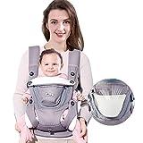 SUNVENO Baby und Kindertrage Bauch und Hüfttrage Baby Hip Sitzträger Schlinge Taille Hocker (Hellgrau)
