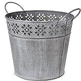 Matches21 Pot de Fleurs en Zinc avec Anse et 3 Tailles 18 cm
