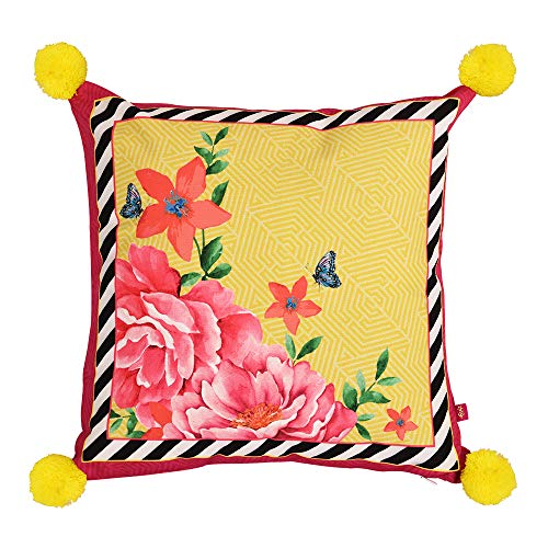 Oris Root Floriane Peony Digital Printed Cotton Cushion Cover 16 by 16 Inch, Yellow