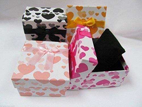 5 x Geschenk-Schatullen / Mini-Boxen für Schmuck, Ringe, Ketten, Armbänder, Uhren, quadratische Form, mit Schleife, innen gepolstert, Motiv