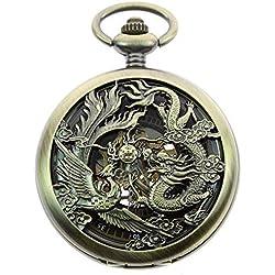 itemstoday Herren Antik Phoenix und Drachen römischen Zahl Zifferblatt Skelett Mechanische Taschenuhr