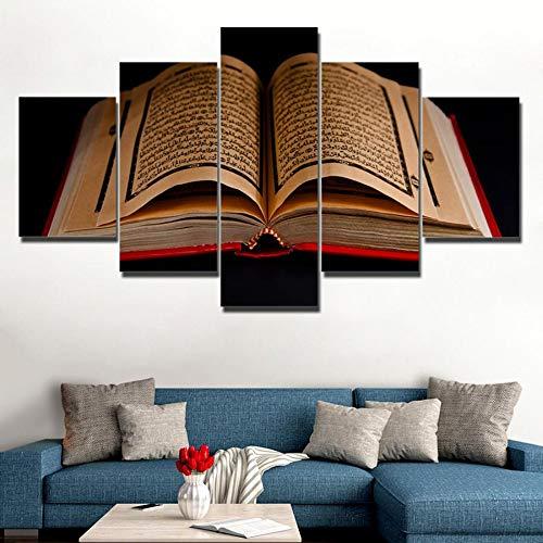 Mddjj Poster Leinwand Bilder Wandkunst Rahmen 5 Stücke Koran Islamische Schriften Gemälde Hd Drucke Holybook Quran Poster Wohnzimmer Dekor Wohnzimmer Dekoration