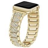 KKSY Correa de Reloj Material De Acero Inoxidable Patrón Creativo Compatible con Apple Watch 42mm Series 1 Series 2 Series 3 Series 4,Gold,40/38mm