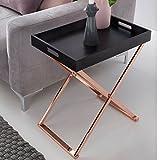 Beistelltisch TV-Tray zusammenklappbar 48 x 61 x 34 cm schwarz / kupfer MDF - Design Wohnzimmertisch mit Tablett Kaffeetisch modern - Tabletttisch Holz