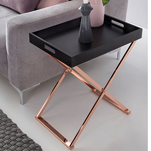 FineBuy Design Beistelltisch Serve Kupfer Schwarz mit Tablett 48 x 61 x 34 cm | Couchtisch Klappbar | Wohnzimmertisch mit Tray | Tabletttisch Holz Modern