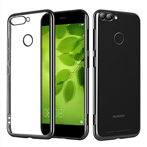 Huawei nova 2 Hülle, MSVII® Durchsichtig Weich TPU Silikon Bumper Hülle Schutzhülle Case Und Displayschutzfolie für Huawei nova 2 - Blau JY60022 Schwarz