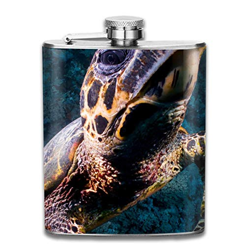 Nifdhkw Sea Turtle Skin Wine Water Hip Flask for Liquor Stainless Steel Bottle Alcohol 7oz Turtle Fur Fleece