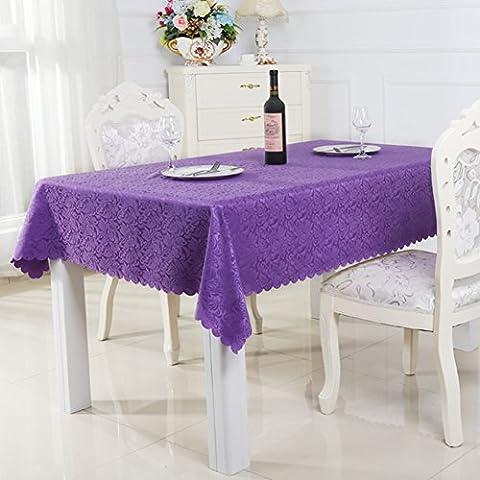 nappe simple moderne tissu de table de famille nappe pourpre romantique nappe -tissu lavable-Violet 160x240cm(63x94inch)