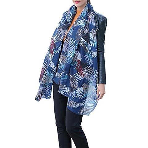 TIREOW New Fashion Elegant Lightweight Soft Print Tassel Long Satin-Silk Scarf Wrap Shawl Stole for Women Ladies 13#