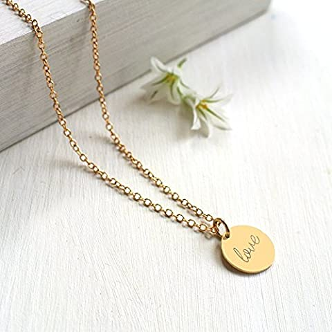 Personalised Gold Little Love Disc Pendant Necklace
