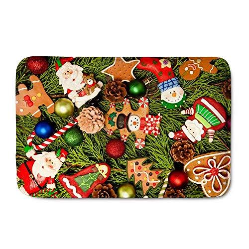 LIS HOME Weihnachten Indoor Fußmatten Cartoon Muster Cookies Lustige rutschfeste Haltbare Waschbar Hause Dekorative Fußmatten Teppiche für Eingang Schlafzimmer Bad Küche Lis-cookie