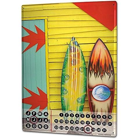 Calendario perpetuo Pared Aventurero Graffiti tabla de surf Metal Imantado