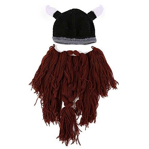 rm Maske Hat Viking Bart Mütze Horn Strickmütze Wolle Funny Skull Cap Einheitsgröße coffee (Cowboy-hüte Für Kinder In Bulk)