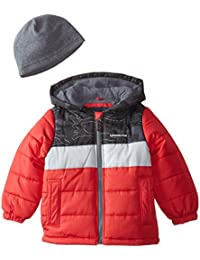 London Fog Boys Pieced Puffer Coat with Hat