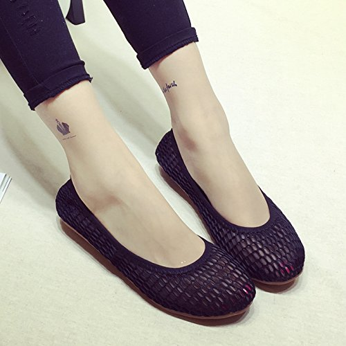 WYMBS Les chaussures plates à tête ronde simple hollow egg rolls respirante chaussures plates avec des chaussures chaussures pour femmes White