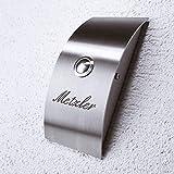 Metzler-Trade Türklingel Edelstahl Aufputz - Klingeltaster/Klingelknopf LED beleuchtet - inkl. Namen Gravur-Beschriftung - Modernes Design - 100% rostfrei & wetterfest - Größe: 90 x 190