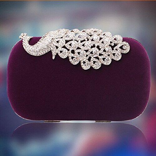 Reine Handarbeit, Klassische Kaschmir -, Abend - Tasche, Hochwertige, Rot, Bankett, Hand - Tasche Violet