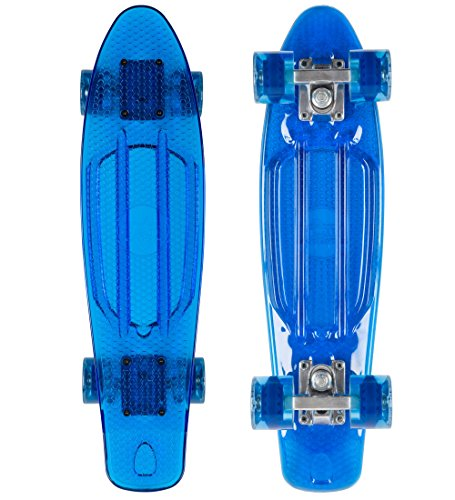 STAR-SKATEBOARDS® Vintage Cruiser Board ★ 22er Trendy Transparent Edition ★ Ocean Blau