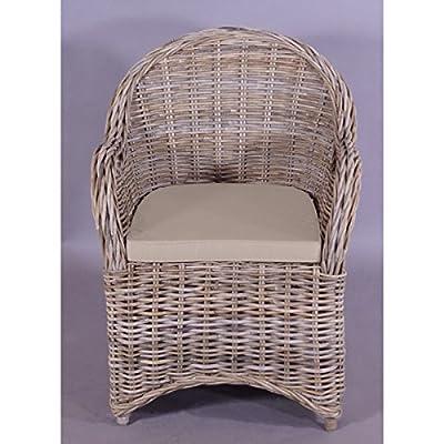 4x Armlehnenstuhl Stuhl Roma spezial Rattan Geflecht in Grey Wash von Domus Ventures - Gartenmöbel von Du und Dein Garten
