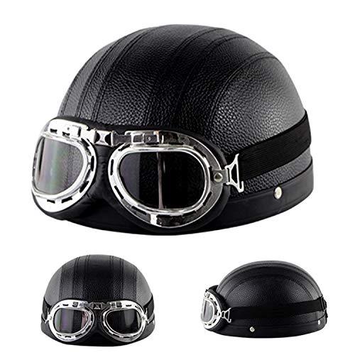 PURROMM Halbhelm Motorrad, Lederhelm mit Brille Retro Cruiser Roller Roller DOT geprüfte Helme für Erwachsene (8 Farben),H