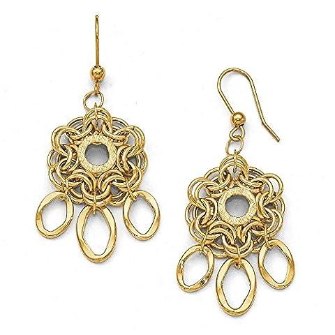 14ct Yellow Gold Polished Diamond-cut Fancy Dangle Earrings