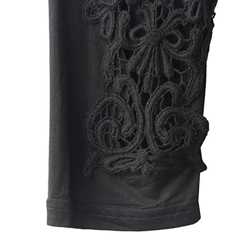 Women Black Ripped Short Cotton Capris FREE SIZE