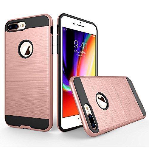 UKDANDANWEI Apple iPhone 7 Plus Étui,Coque Back Cover Rigide Antichoc Renforcée Housse de Protection Étui à rabat Case pour Apple iPhone 7 Plus - Blanc Rose Gold