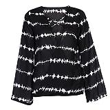 sunshineBoby Frauen Lösen Lange Hülsen-Hemd-Streifen-Oberseiten, die Chiffon- beiläufige Bluse überschneiden Damen Kurzarm Elegante Casual T-Shirt Kleid Chiffonkleid(Schwarz,L)