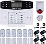 House Alarm, Discoball GSM Home Alarm System Wireless Auto Dial Intruder Alarm with Remote Controller, PIR Motion Sensor, Door/Window Detector, 1 Year Warranty