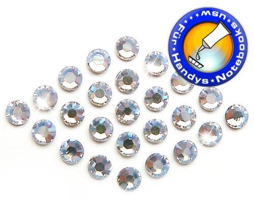 100 Stück SWAROVSKI ELEMENTS 2058 KEIN Hotfix, Crystal Moonlight, SS9 (Ø ca. 2,6 mm), Strasssteine zum Aufkleben