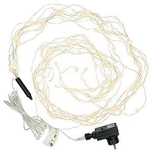 Lichterregen 200 LED warm weiß 10 silberne Drähte mit je 20 LED Trafo Timer Lichterkette Weihnachtsdeko Partydeko Lichterbündel Weihnachten