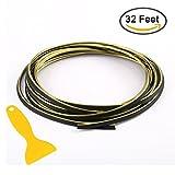 Car Edging Trim Innenstreifen - STYLINGCAR 32ft Gap Filler Dekoratives flexibles Formteil Trim Strip Linie Universal Gap garnieren Zubehör mit Installation Tool (Golden 10 Meter)