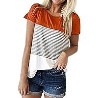 Hevoiok Damen Kurzarm-Shirt Oberteile Sexy Dreifacher Farbblock Streifen Bluse Neu Frühling Sommer T Shirt Frauen Casual Locker Beiläufig Tanktops (Orange, XL)