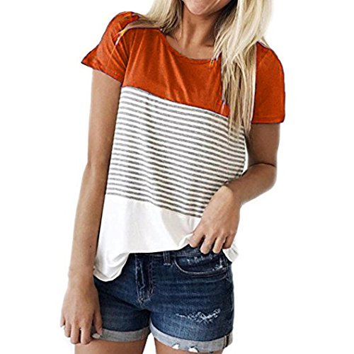 Hevoiok Damen Kurzarm-Shirt Oberteile Sexy Dreifacher Farbblock Streifen Bluse Neu Frühling Sommer T Shirt Frauen Casual Locker Beiläufig Tanktops (Orange, XL) (Rundhals-bluse)