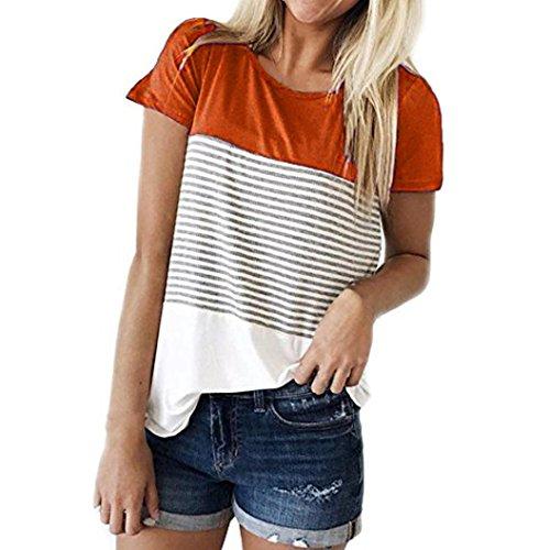Hevoiok Damen Kurzarm-Shirt Oberteile Sexy Dreifacher Farbblock Streifen Bluse Neu Frühling Sommer T Shirt Frauen Casual Locker Beiläufig Tanktops (Orange, 2XL) (T-shirt Bluse Großen)