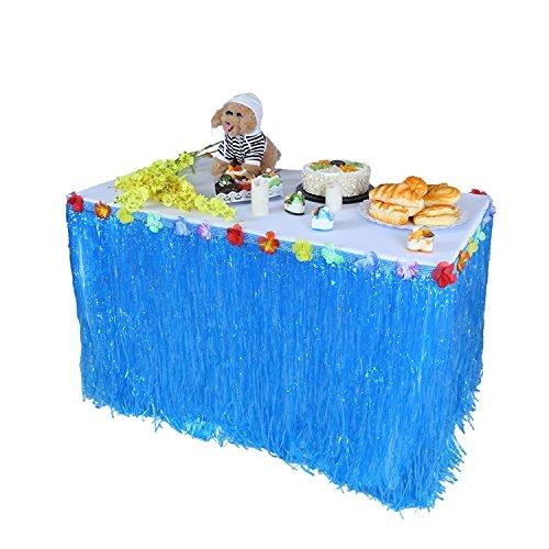 gfcc 9ft (275cm x 75cm) blau Gras Tisch Rock mit Hibiskus Blumen. Luau Strand-Hawaiian Tropische Dekorationen