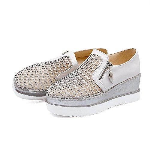 AllhqFashion Damen Quadratisch Zehe Mittler Absatz Reißverschluss Rein Pumps Schuhe Weiß