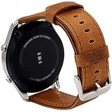 "18mm Pulsera de Repuesto Pinhen 18mm Correa Reemplazo Genuine cuero correa de reloj para Huawei Watch W1, Huawei fit, Withings Activite, Activité Pop, Withings Steel HR 36mm, Asus Zenwatch 2 1.45"" (18mm Brown)"