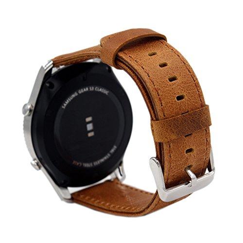 20mm Armband Pinhen Premium Soft Echt Leder Uhrenarmband Lederarmband Uhr Band Ersatzband für Gear S2 Classic,Ticwatch 2, Moto 360 42mm Man, Huawei Watch 2,Withings Steel HR 40mm (20MM Brown)