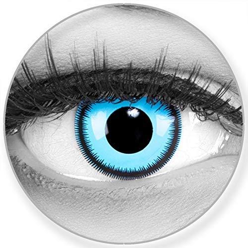 Funnylens Farbige blaue Kontaktlinsen Blue Lunatic - weich ohne Stärke 2er Pack + gratis Behälter - 12 Monatslinsen - perfekt zu Halloween Karneval Fasching oder Fasnacht