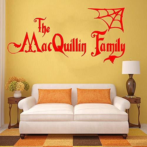 erte Halloween Familienname Addams Familie Vinyl Wandkunst Aufkleber Wandhauptdekor Wanddekor Wohnzimmer 57 * 120 cm ()