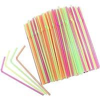 Vi.yo - 100 pajitas multicolores para fiestas de cumpleaños, bodas, eventos, fiestas, papel, pajitas, plástico, 100x Colorful, 21x0.5cm