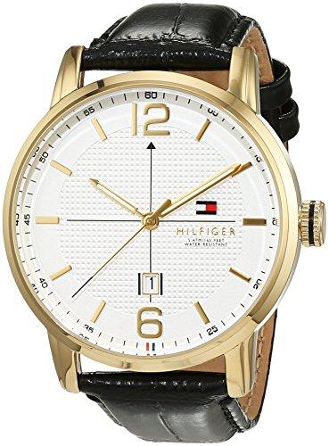 Tommy Hilfiger Herren Analog Quarz Uhr mit Leder Armband 1791218