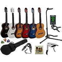 Pack Guitare Classique 4/4 (Adulte) 7/8 3/4 1/2 1/4 (Enfant) + 8 Accessoires ~ Neuve & Garantie (3/4, Bleu)
