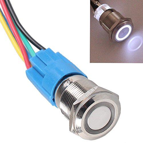 Mintice/™ Coquille noire Interrupteur Commutateur Bouton Poussoir en M/étal Lumi/ère Eclairage Bleu Oeil de l/'Ange 19mm 12V 5A pour Voiture Moto