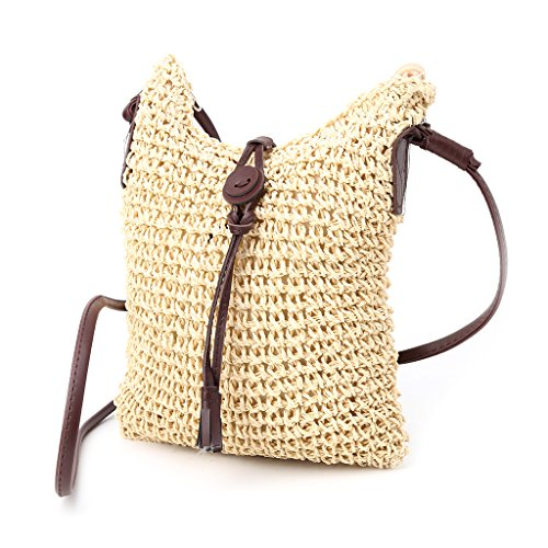 Dabixx Damen Handtasche Schultertasche Straw Weave Tote Handtasche Lady Beach Hobo Bag Crossbody Beige