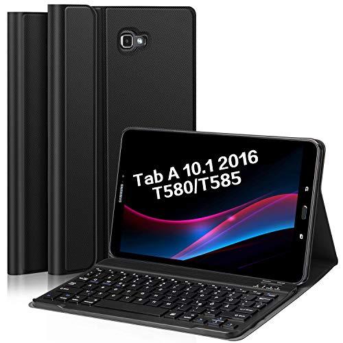 Earto Bluetooth Tastatur Hülle für Samsung Galaxy Tab A T580/T585 10,1 Zoll 2016 Tablet-PC,Hochwertiges PU-Leder Tablet Hülle mit magnetisch Abnehmbarer Deutscher Bluetooth Tastatur schwarz