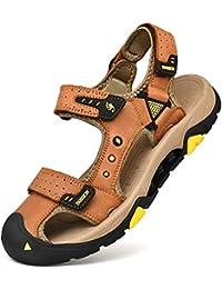 055684338 AONETIGER® Sandalias Deportivas Hombre Verano Senderismo Montaña Trekking  Velcro Cuero Zapatos de Playa Punta Cerrada