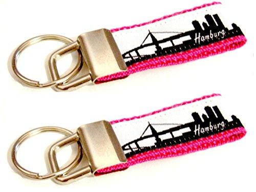 Preisvergleich Produktbild 2x Schmaler Partner Schlüsselanhänger mit Skyline - HAMBURG - für Taschen, Jacken und Schlüssel in Pink